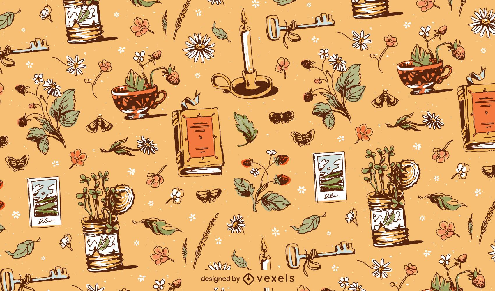 Diseño de patrón vintage de elementos de Cottagecore