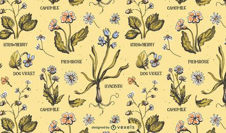 Diseño de patrón de naturaleza vintage de flores