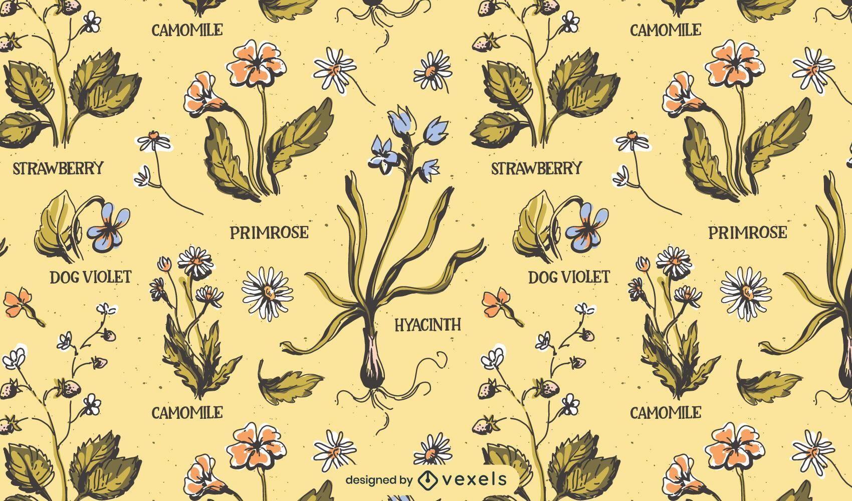 Flores de design de padrão de natureza vintage
