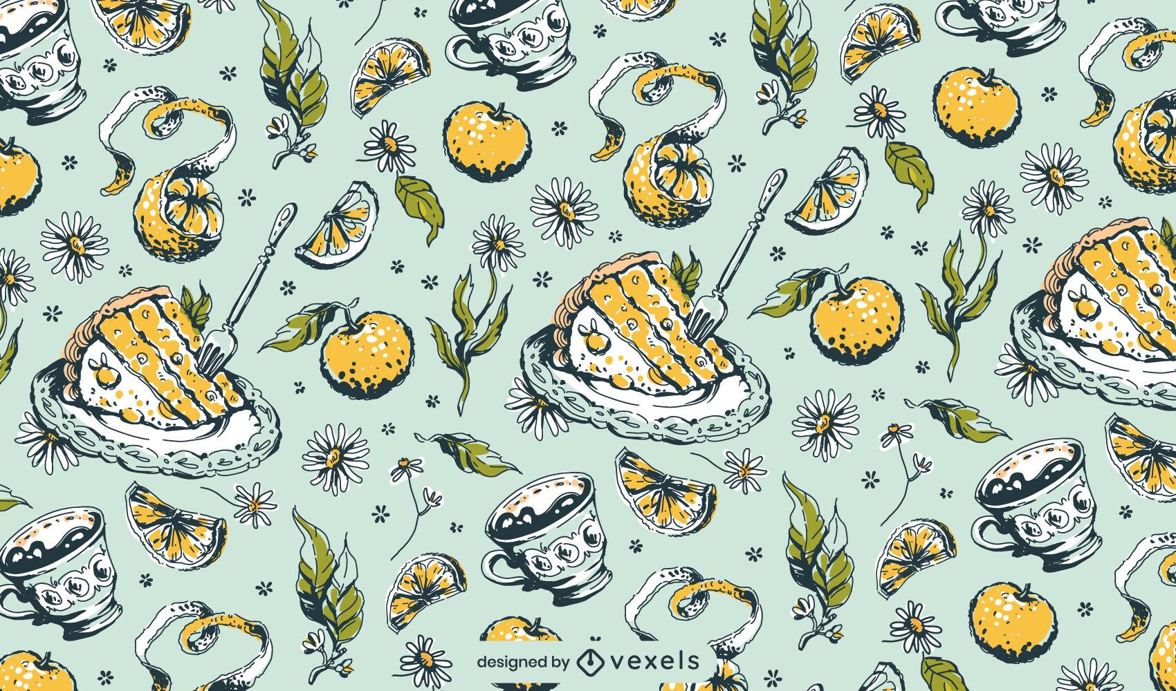 Diseño de patrón vintage de la hora del té de alimentos dulces