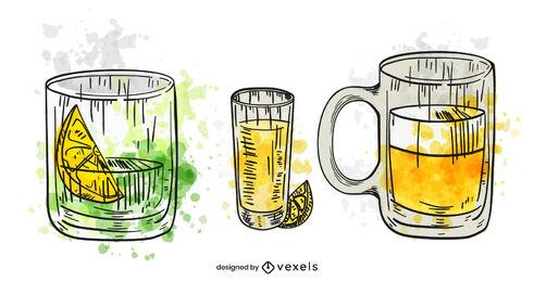 Set de bebidas alcohólicas acuarela