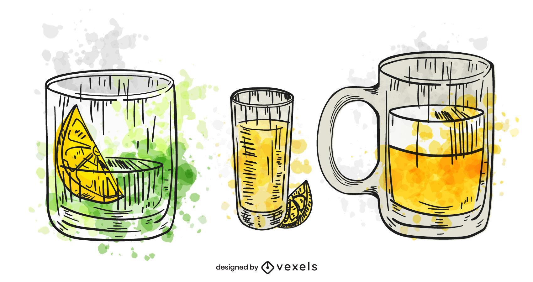 Conjunto de bebidas alcoólicas em aquarela