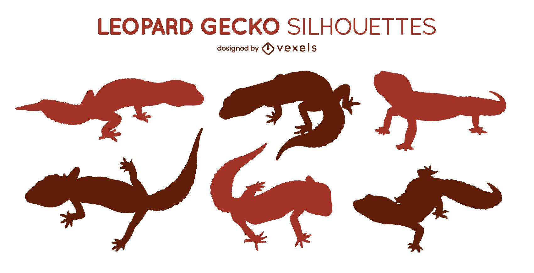 Leopard geckos set of silhouettes