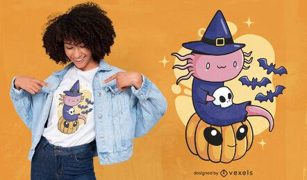 Diseño lindo de la camiseta del axolotl de Halloween