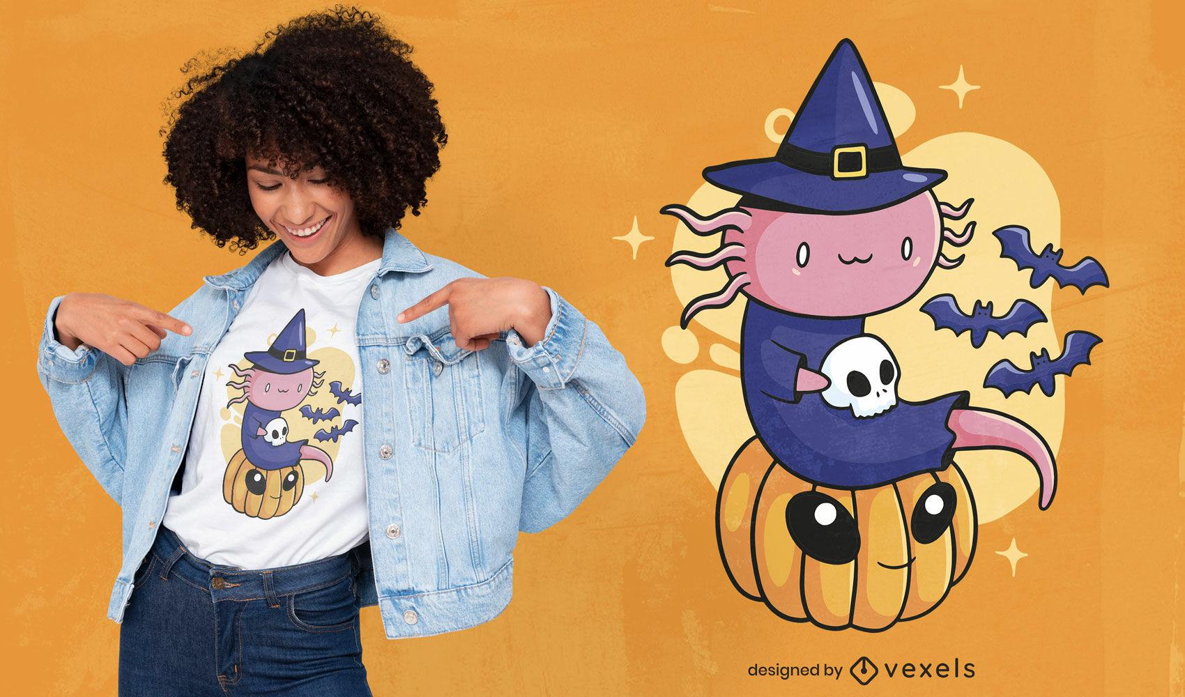 Design de camiseta fofa axolotl de Halloween