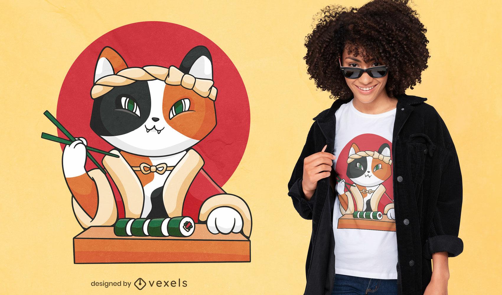 Diseño de camiseta de dibujos animados de sushi cat.