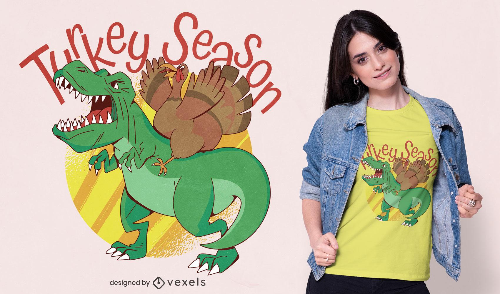 Diseño de camiseta t-rex de la temporada de pavo.