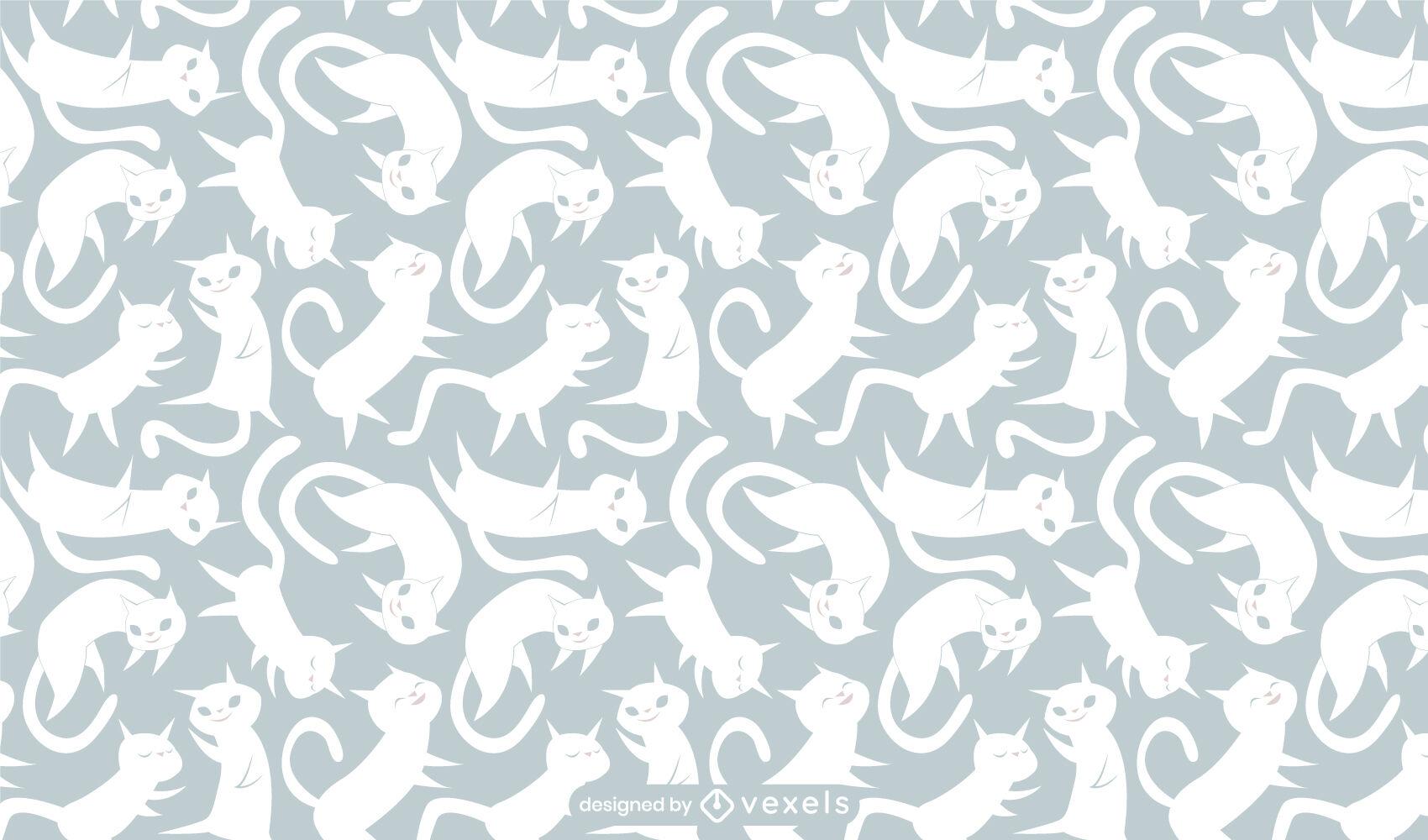 Desenho de padrão animal de gato branco feliz