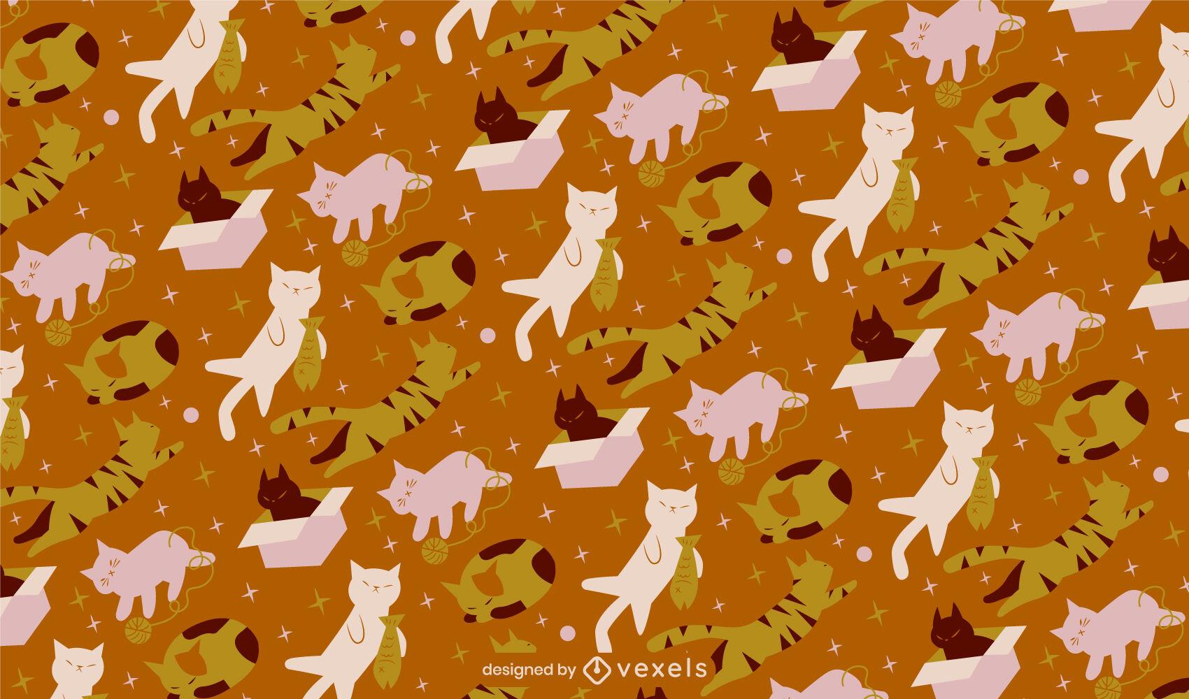 Süße Katzen, die Tiermusterdesign spielen