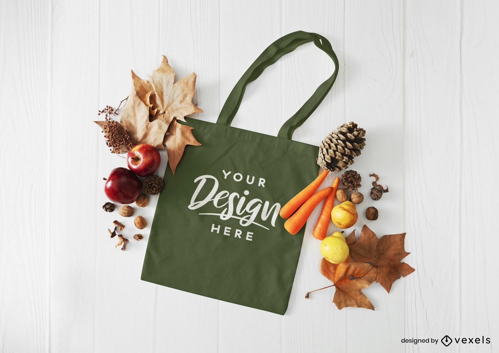 Maqueta de composición de otoño de bolso de mano verde
