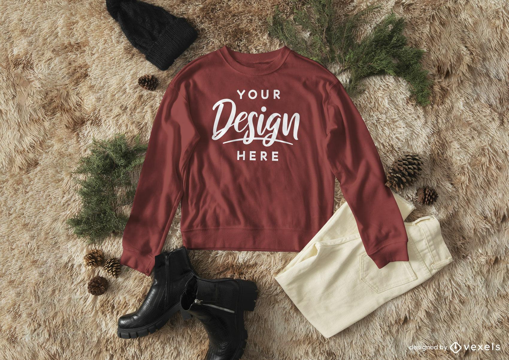 Red sweatshirt mockup composition in carpet