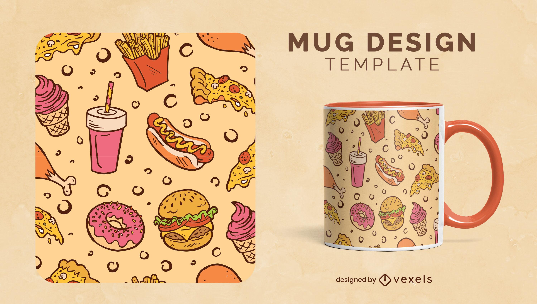 Delicious fast food mug template design