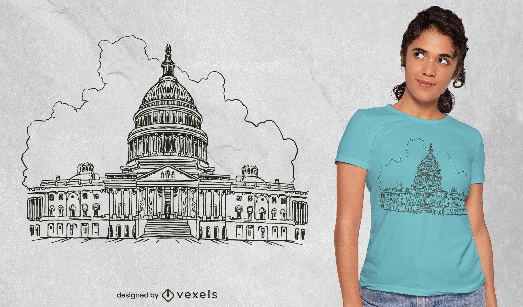 Lindo design de camiseta da Casa Branca