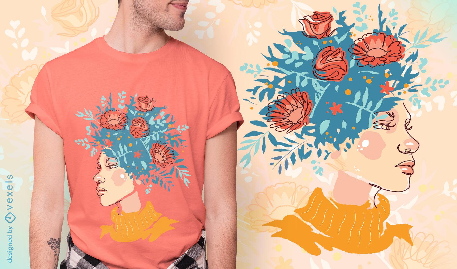 Menina com flores em design de camiseta de cabelo