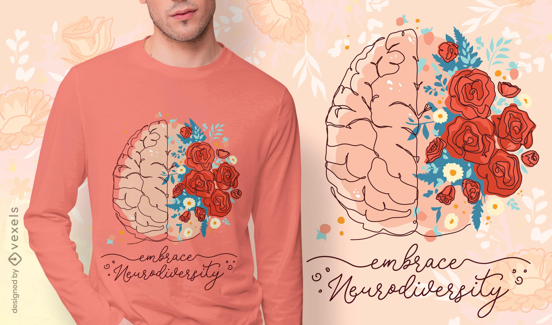 Diseño de camiseta de cerebro de neurodiversidad.