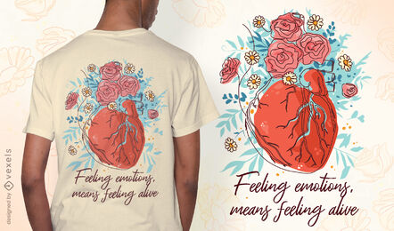 Diseño de camiseta de corazón de salud mental.