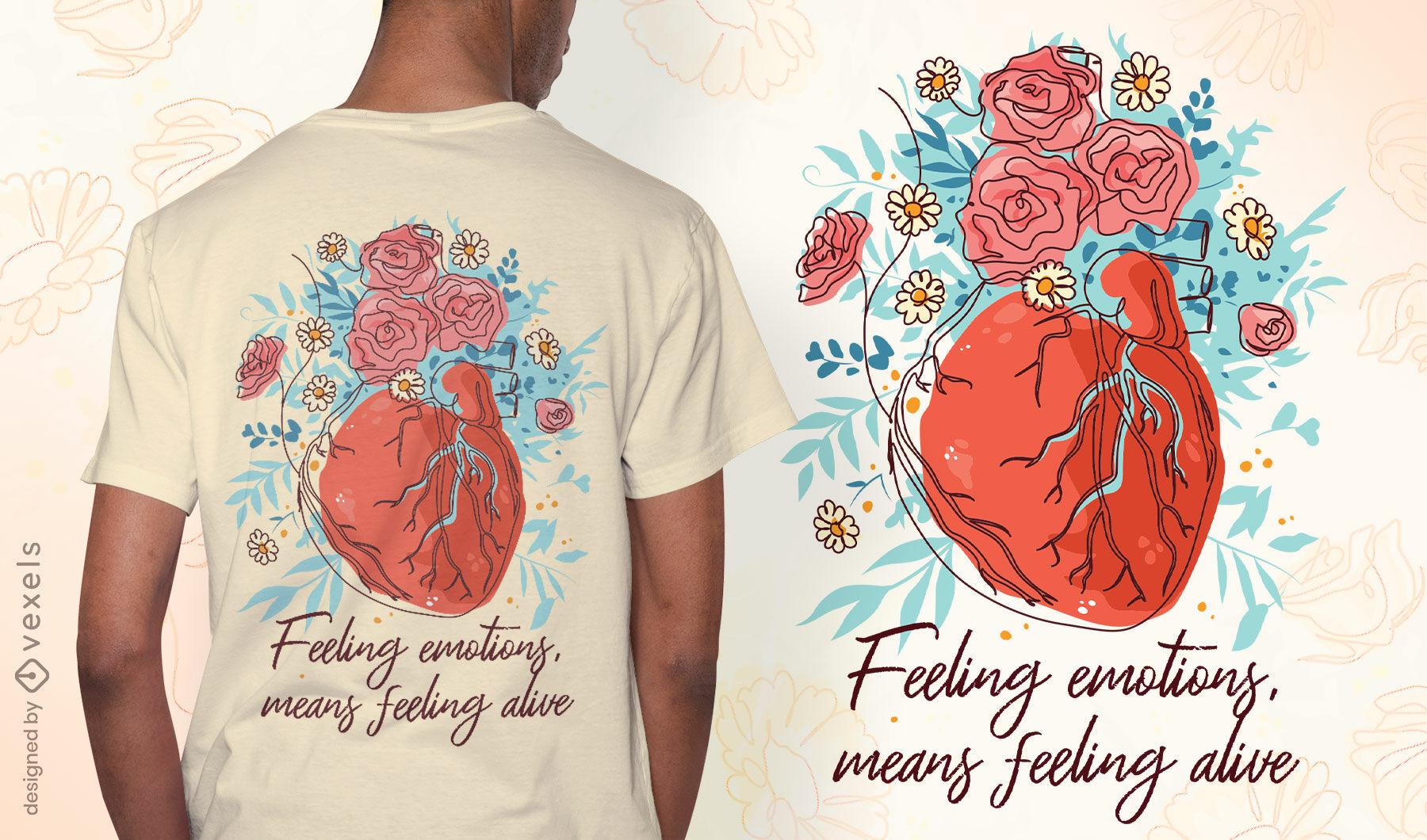 Design de t-shirt coração saúde mental