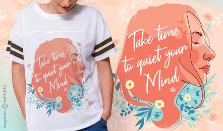 Quiet mind girl t-shirt design