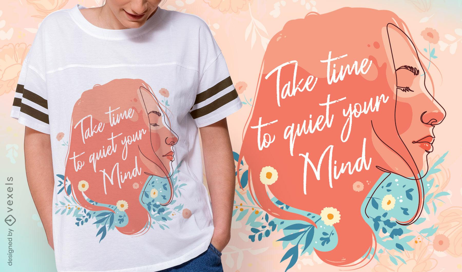 Design de t-shirt de menina com mente tranquila