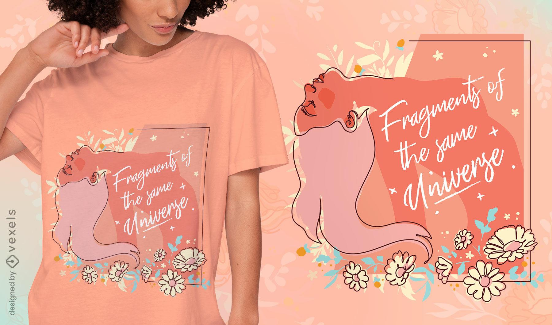 Design de t-shirt de saúde mental do universo feminino
