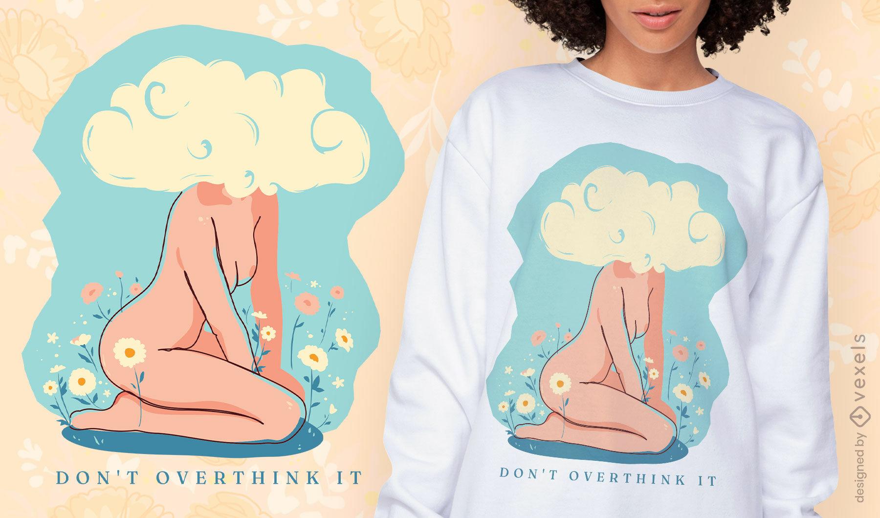 Pensando demais no design da t-shirt da cabeça da nuvem