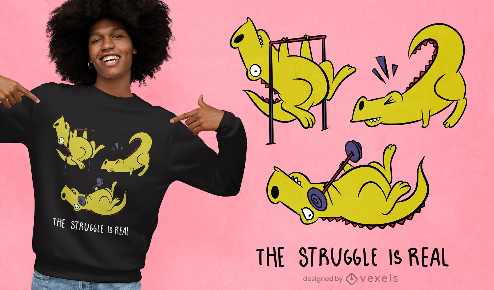 Cute t-rex exercising t-shirt design
