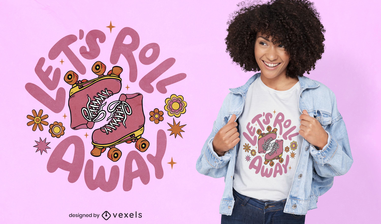Pink retro rollerskates t-shirt design