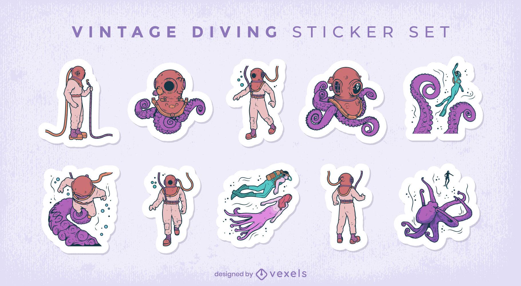 Ocean diving vintage gear sticker set