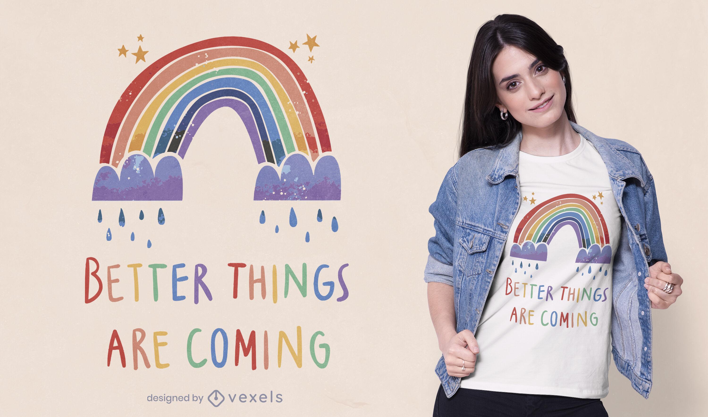 Diseño de camiseta de cita motivacional de lluvia de arco iris