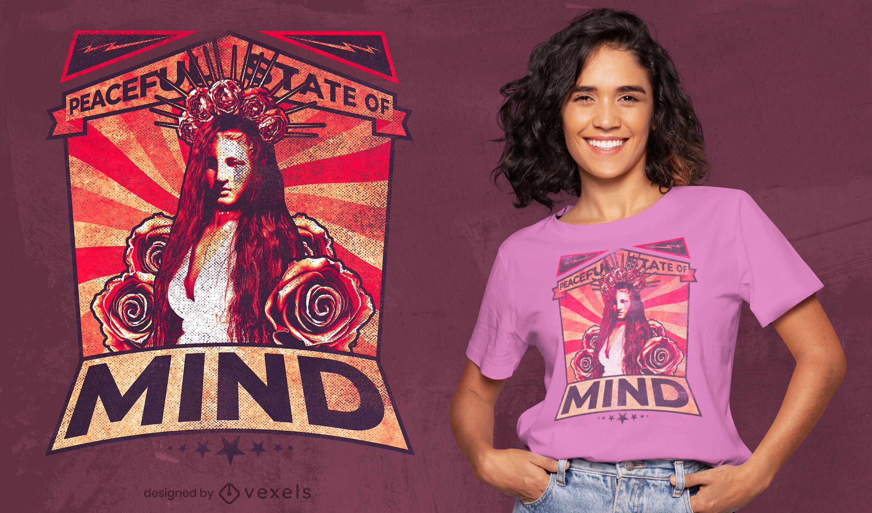 Camiseta de mulher de cabelos compridos e rosas psd