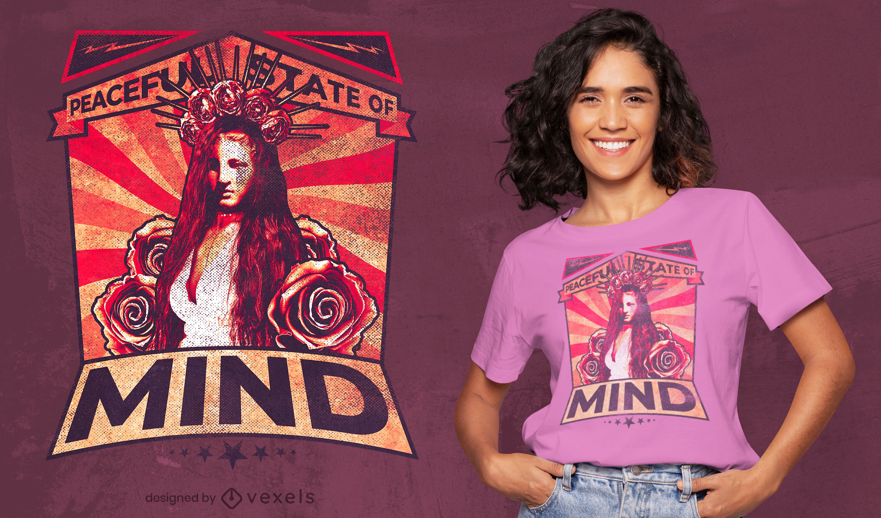 Long haired woman and roses t-shirt psd