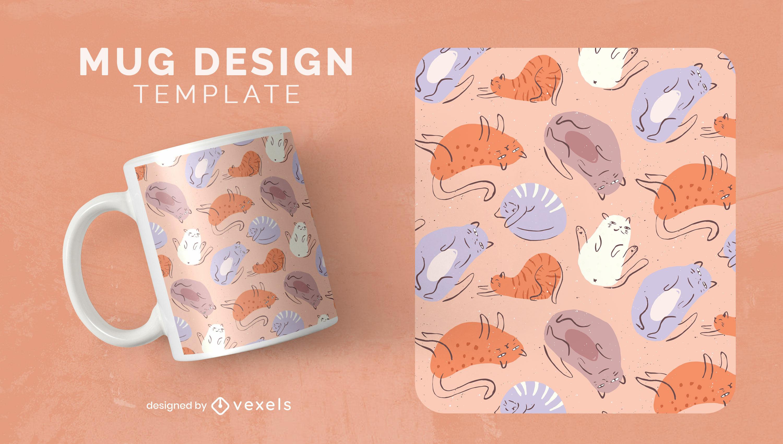 Lazy cats doodles animal mug template design