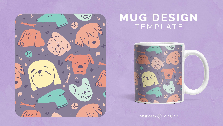 Dog cute animals doodles mug template