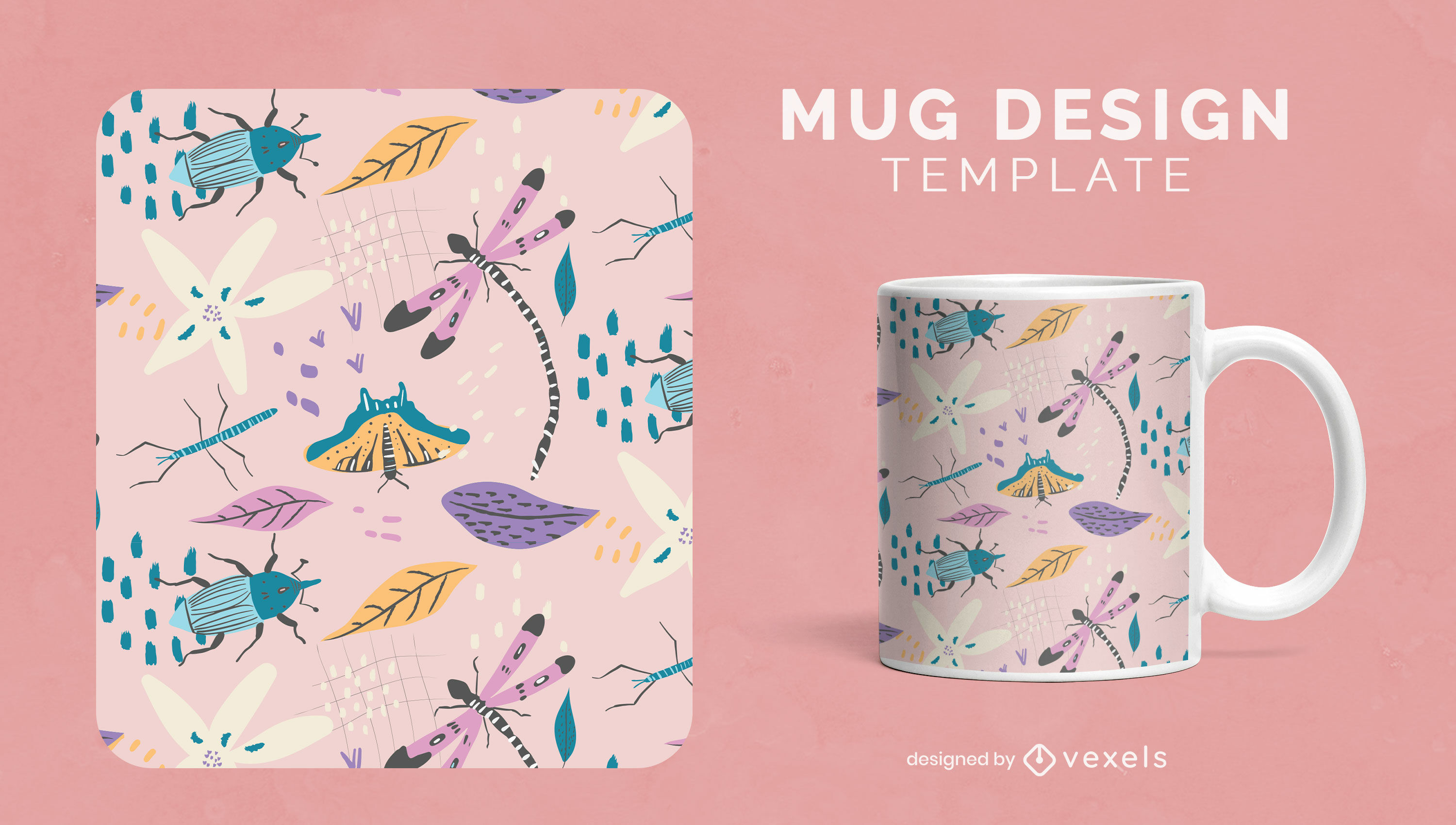 Insects in nature floral mug template