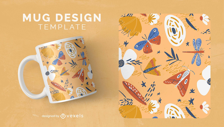Diseño de plantilla de taza de insectos y flores de la naturaleza