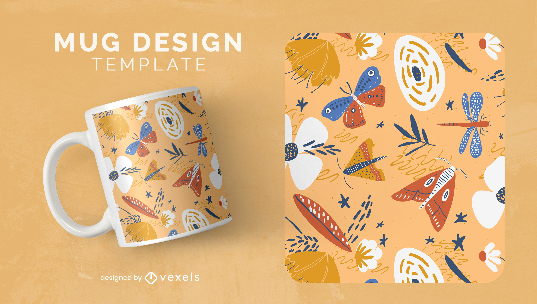 Nature bugs and flowers mug template design