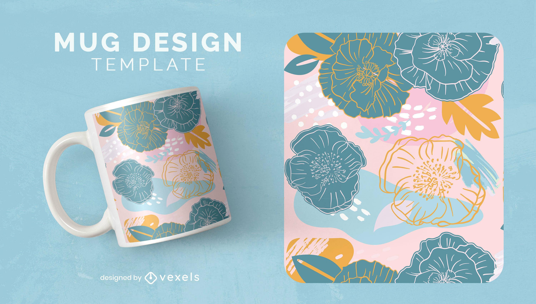 Floral abstract nature mug design