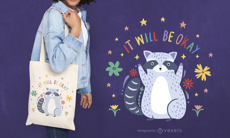 Diseño de bolso de mano de animal mapache motivacional