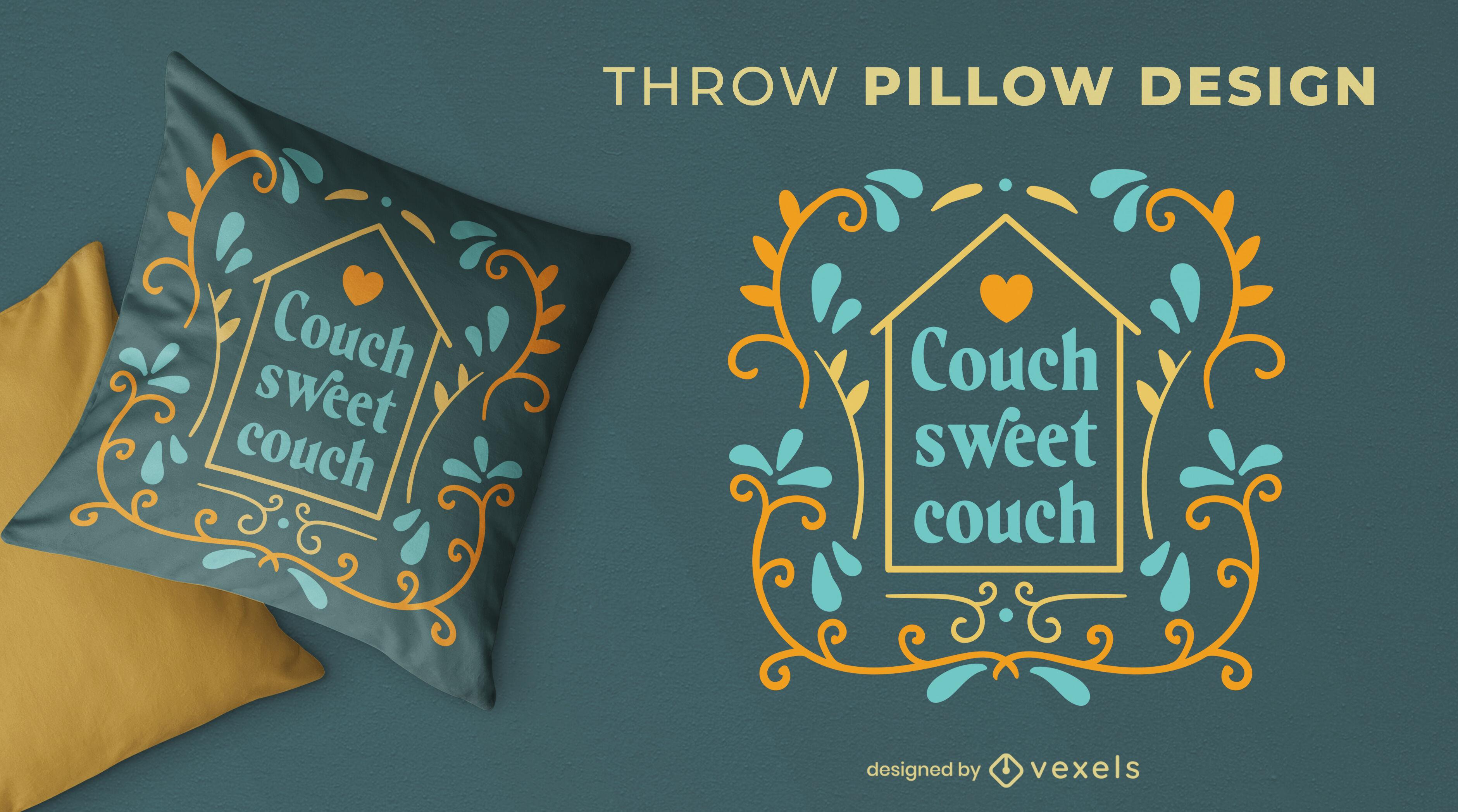 Diseño de almohada de tiro de cita de sofá dulce