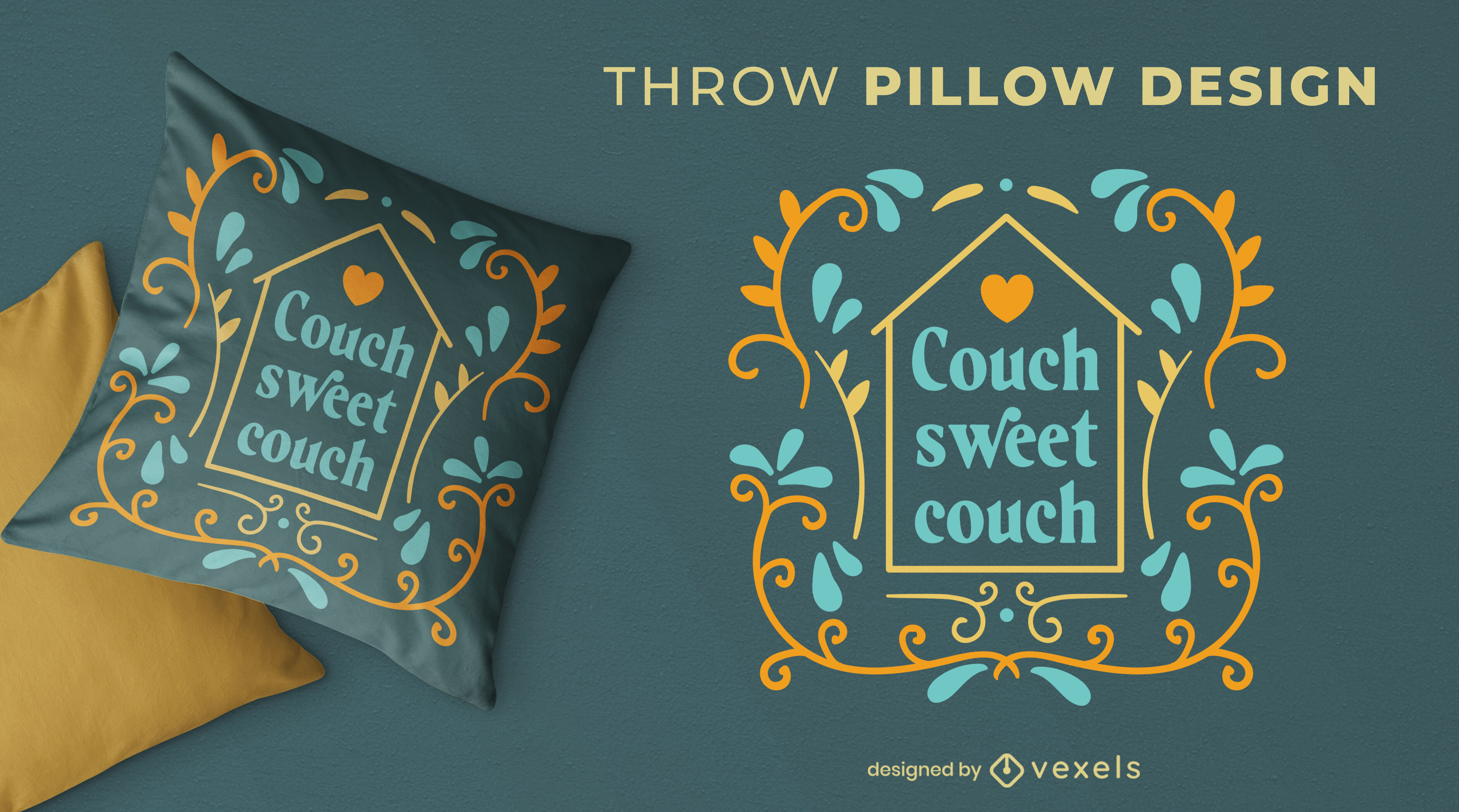 Sweet couch quote throw pillow design