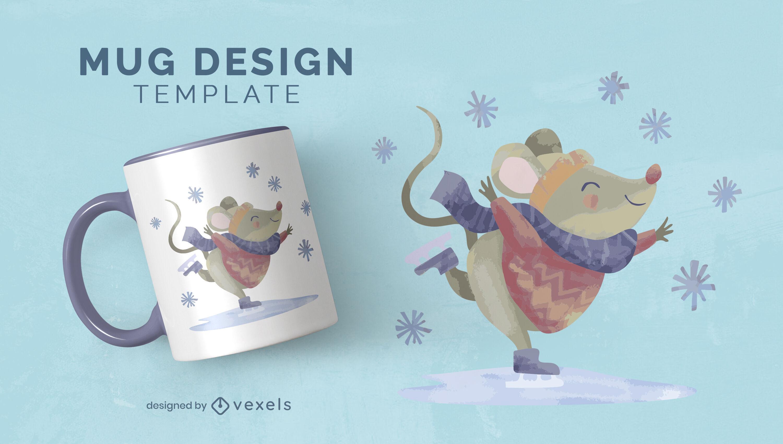Cute mouse animal skating mug template