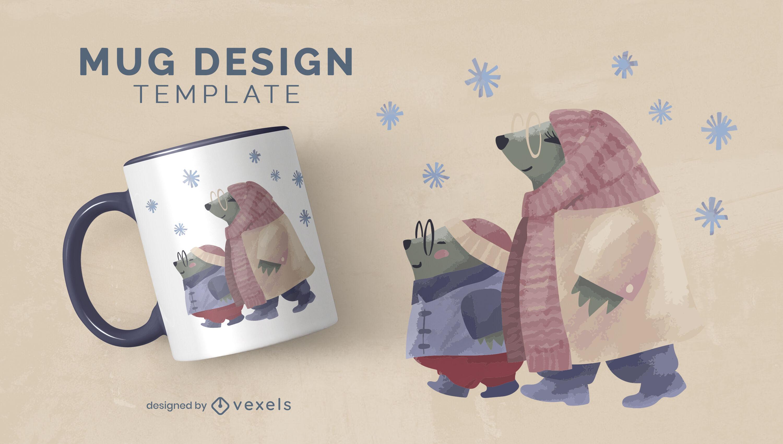 Otter animal family winter mug template