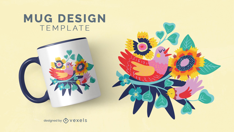 Diseño floral de la taza de la naturaleza del pájaro feliz