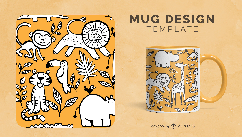 Wild animals nature cartoon mug template