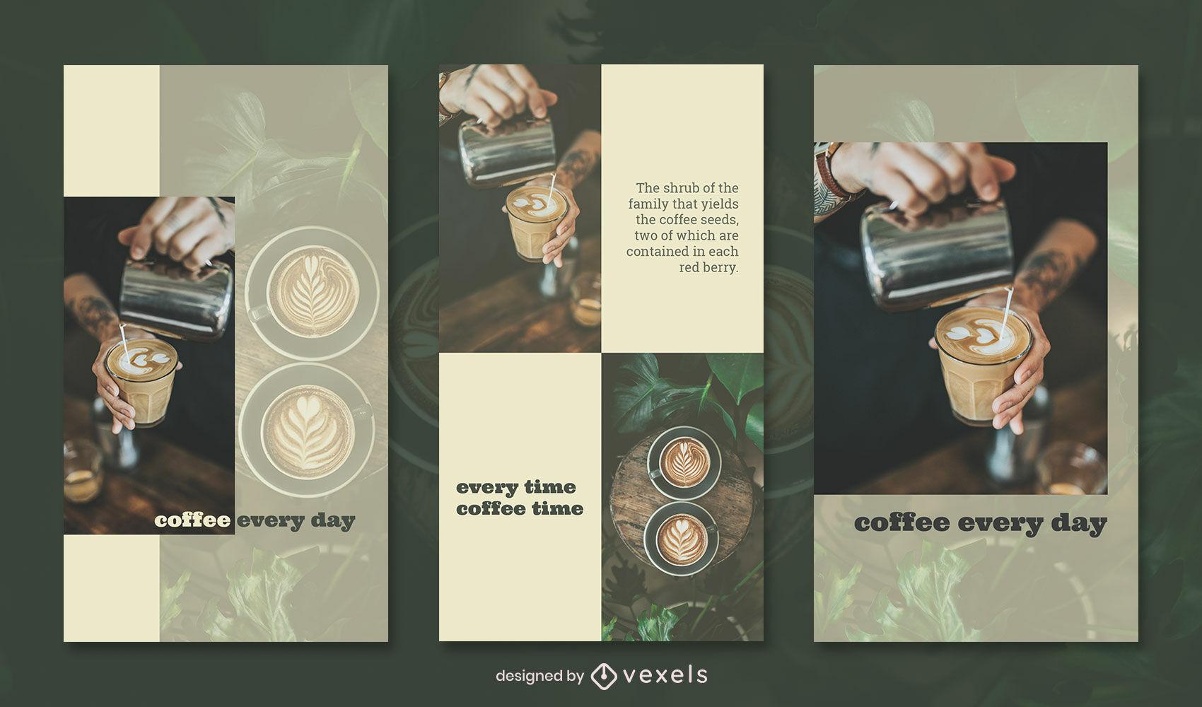 Conjunto de historia de instagram de fotografía de arte de café