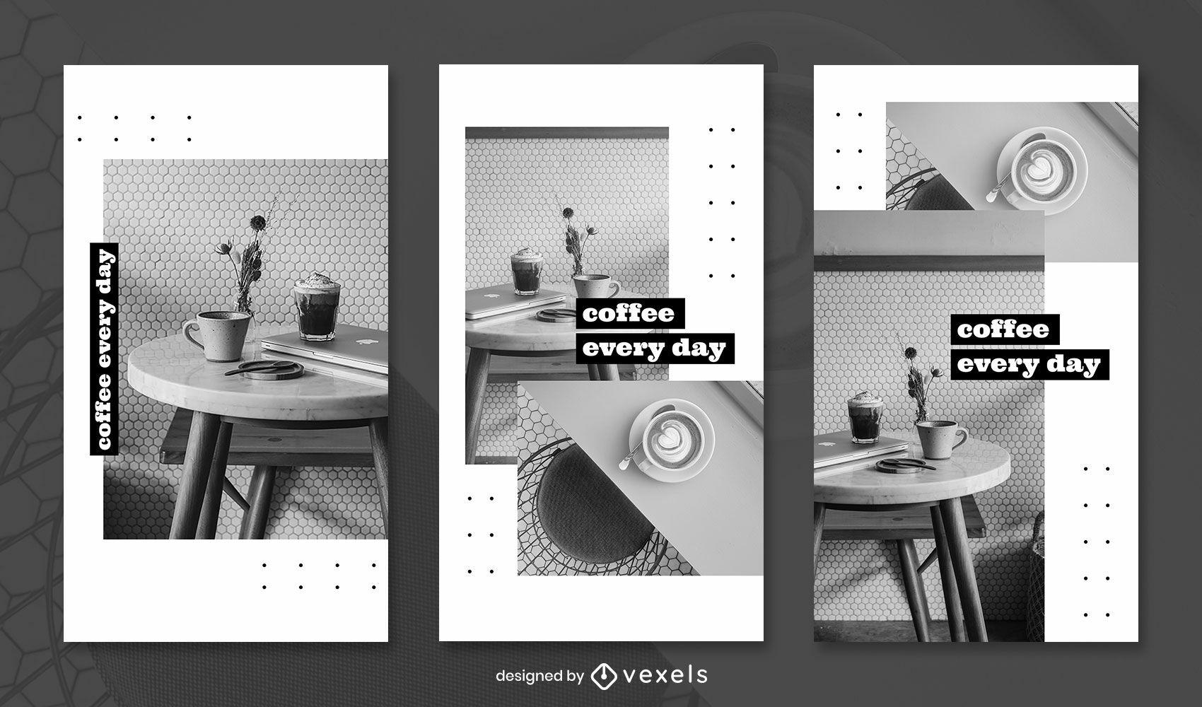 Indoor photography instagram story set