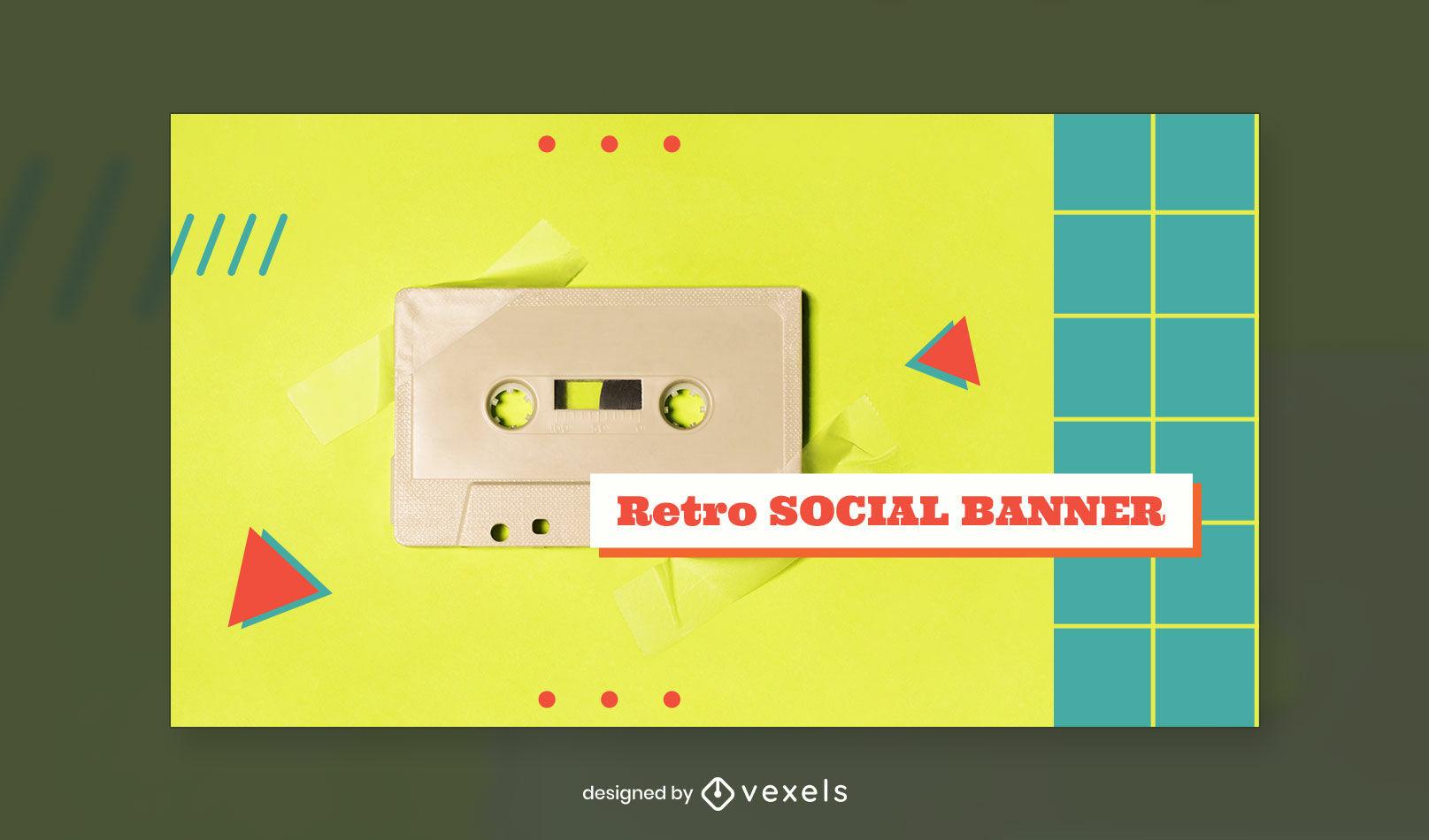 Plantilla de portada de facebook retro cassette