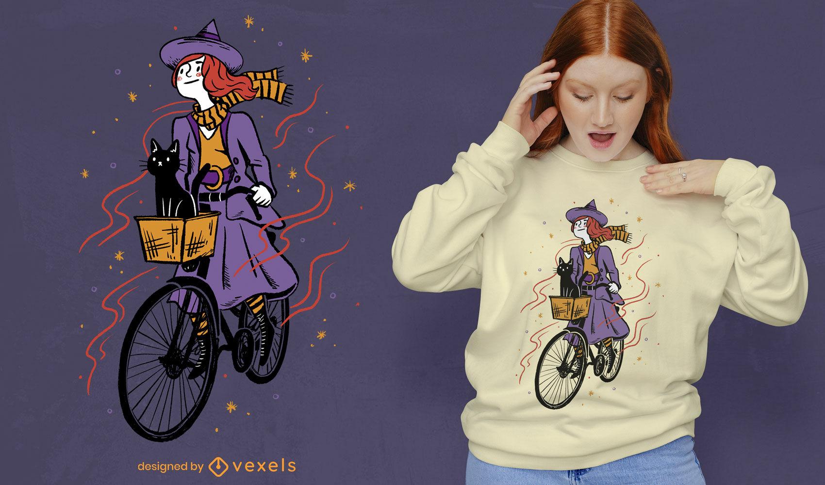 Hexenm?dchen, das Fahrrad mit Katzen-T-Shirt PSD-Design reitet