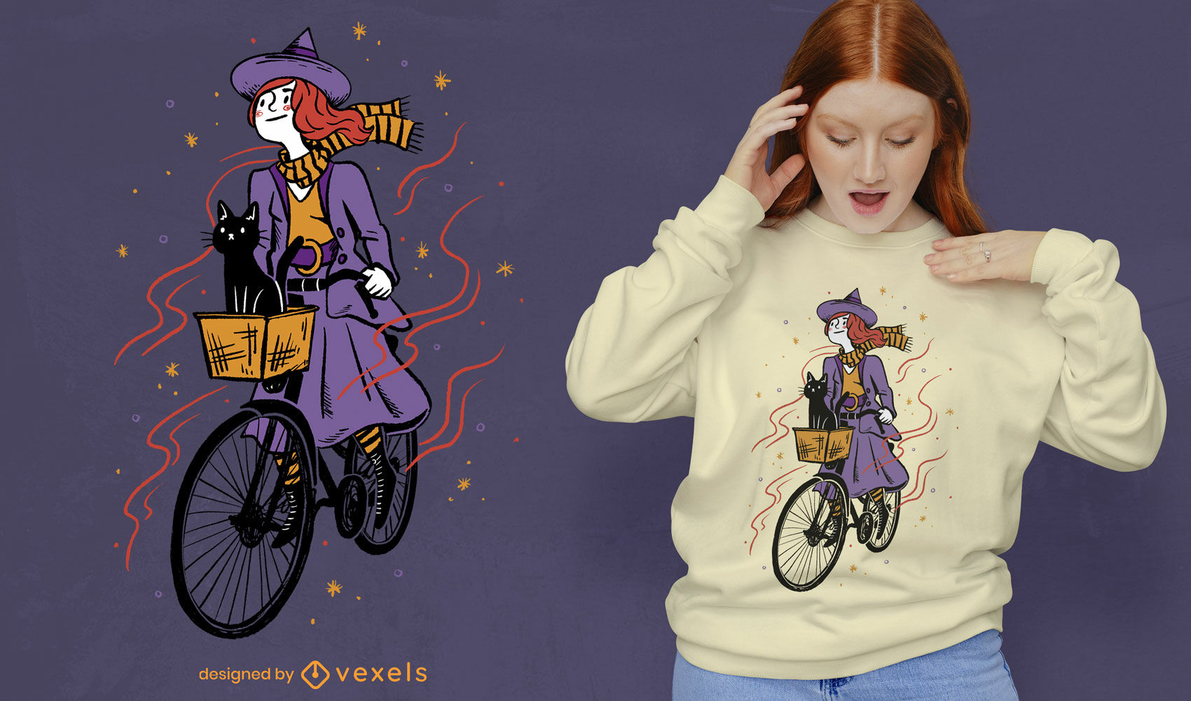 Witch girl riding bike with cat t-shirt psd design