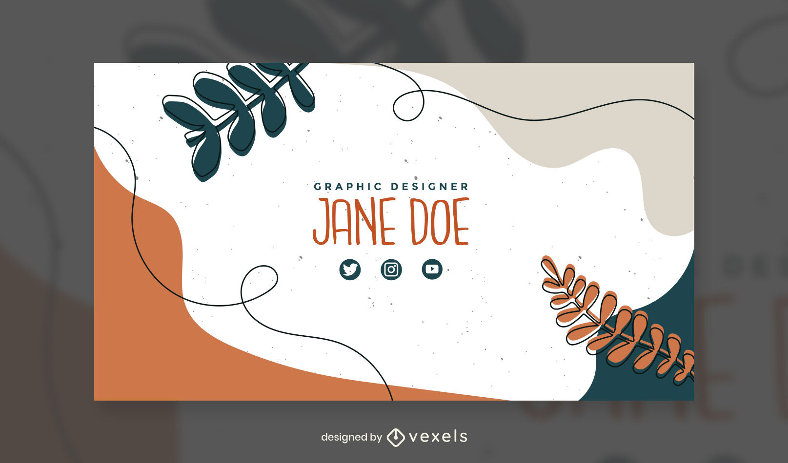 Organic abstract leaves instagram post template